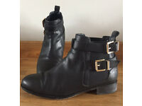 River Island Black Leather Buckle Boots size 6
