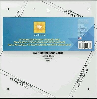 EZ SIMPLICITY LARGE TWINKLE STAR /FLOATING STAR QUILTING SHAPE TEMPLATE BNEW