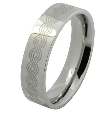 6mm Band Braided Design Stainless Steel Ring High Polish Finish Comfort Fit