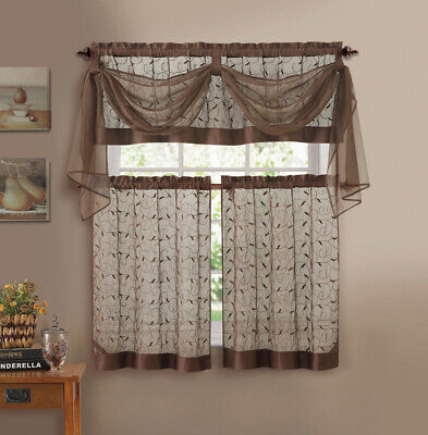 Chocolate Vine Embroidered Window Curtain Set- 1 Valance, Voile Scarf, 2 covid 19 (Scarf Valance Curtain coronavirus)