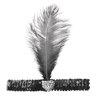 Flapper Stirnband mit Feder und Herz Kristall. Schwarz, 20er Jahre Kostüm (Schwarze Flapper Stirnband Mit Feder)
