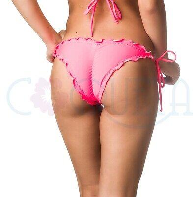Coqueta Women's Tie Side Cheeky Bikini Bottoms Ruffles Coral Bathing Suit Sexy](Tie Side Bikini Bottoms)