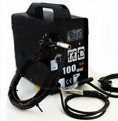 Mig-100 Flux Core Welding Machine No Gas Welder Face Mask 110v Cooling Fan