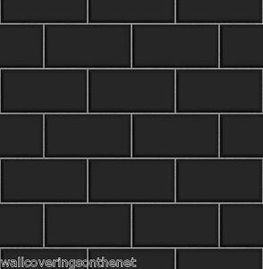 Black grey subway tile effect tiling on a roll for Tile effect kitchen wallpaper