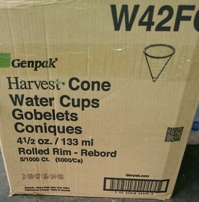 Genpak Harvest Water Cones Case Of 5000