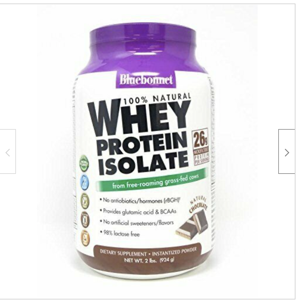 Bluebonnet Nutrition 100% Natural Whey Protein Isolate Powder Chocolate 2 LB
