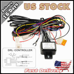 Automatic DRL Relay Harness Daytime Running Light Auto SWITCH On Off Control USA
