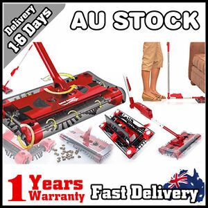 NEW Electric Cordless Quad Brush Swivel Floor Sweeper Mop Bagless Cleaner Red