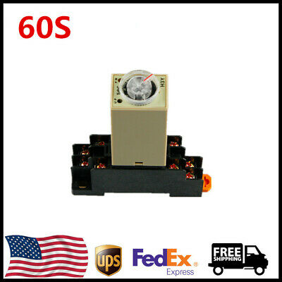 Us Stock Dc12v H3y-2 60s Delay Timer Time Relay 0-60 Second Base Socket