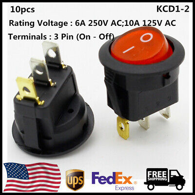 10pcs 10a 125v Ac Round Rocker Toggle Led Switch Red Light Spst On-off For Car