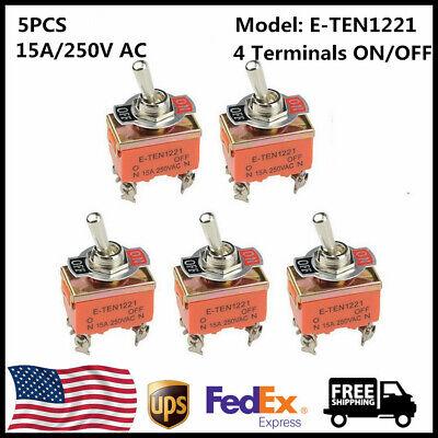 5pcs E-ten1221 15a250v Ac Heavy Duty 4 Terminals Onoff Rocker Toggle Switch