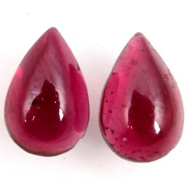 PAIR OF MARVELLOUS NATURAL GARNET LOOSE GEMSTONES  (9 x 6 mm)  PEAR CABOCHON
