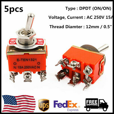 5pcs Heavy Duty Switch 20a 125v Onon 6 Terminals 2 Position Dpdt Toggle Switch