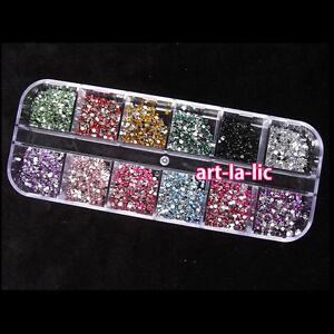 3000-un-1-5mm-redondo-Rhinstones-Estuche-Rigido-12-Colores-Arte-en-Unas-Puntas-Acrilico-UV-Gel