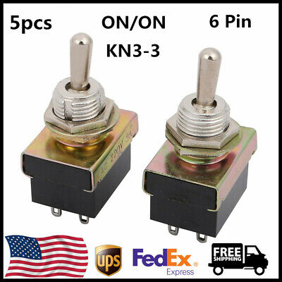 5Pcs AC 220V 3A DPDT ON-ON 2 Positions 6 Pins Latching Toggle Switch Black
