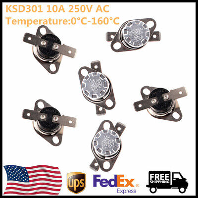 5x KSD301 NO/NC Thermostat Temperature Thermal Control Switch Auto Reset 0-160°C