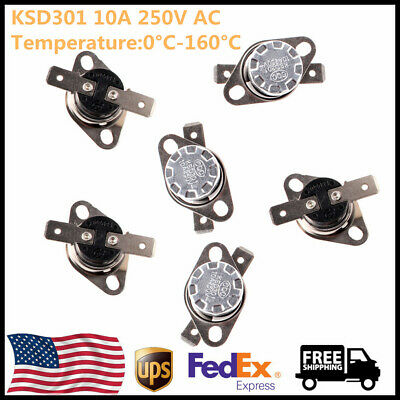 5x Ksd301 Nonc Thermostat Temperature Thermal Control Switch Auto Reset 0-160c
