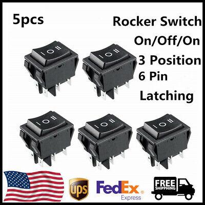 5pcs Dpdt 16a250v Ac 20a125v Boat Rocker Switch Black 6 Terminal 3 Position