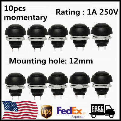 10pcs 12mm Waterproof Push Button Momentary On Off Switch Black Diy For Arduino