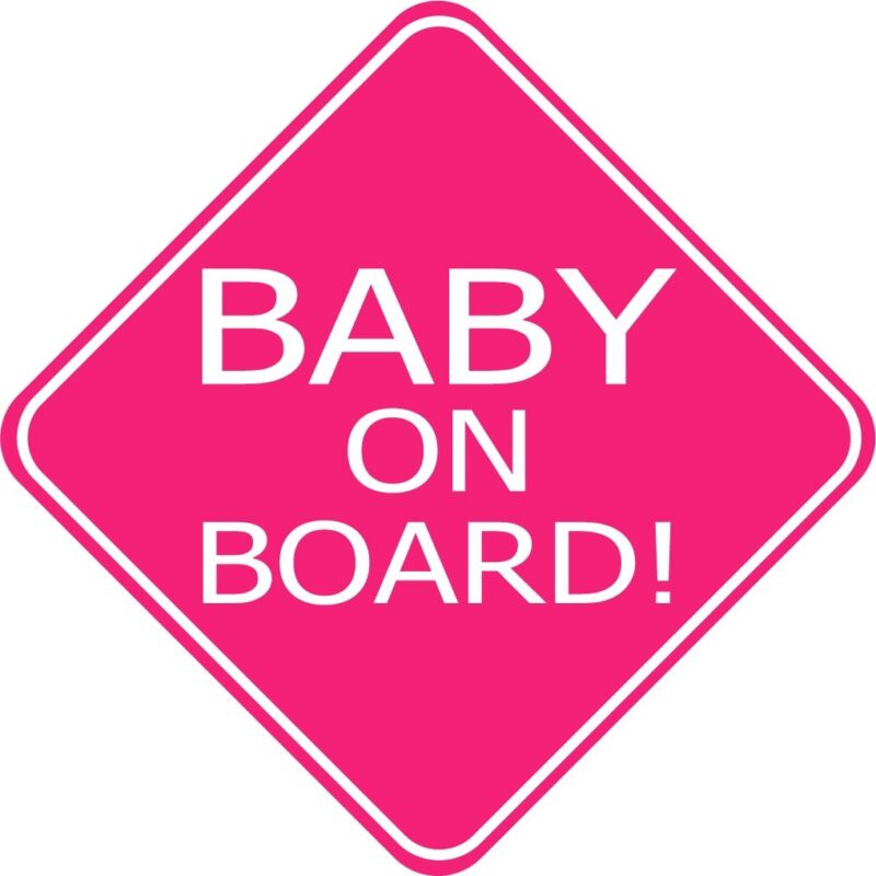 A baby on board sticker, glossy pink, vinyl cut sticker.