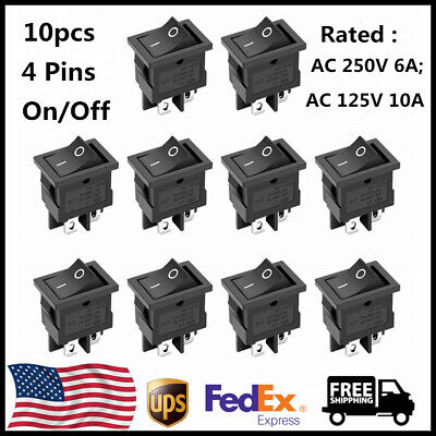 10pc Dpst On-off 4 Pin Snap Rocker Boat Switch Black Ac 250v 6a 125v 10a For Car