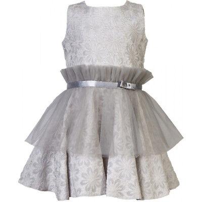 Mädchen Kleid Festlich Hochzeit Blumenmädchen Einschulung mit Seide Tüll Grau