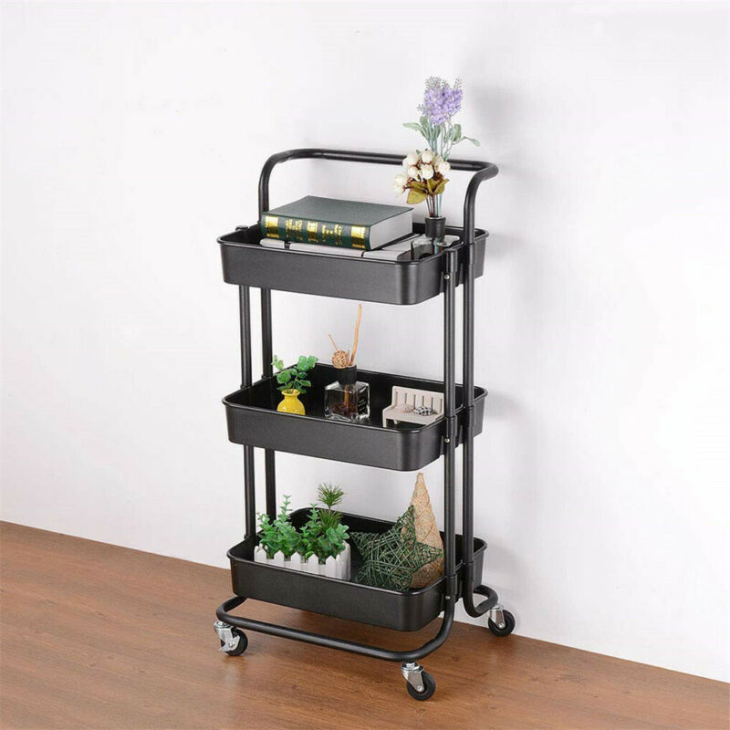 3-Tier+Rolling+Cart+Basket+Storage+Serving+Trolley+Organiser+w%2F+Ergonomic+Handle