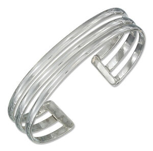7-Solid-925-Sterling-Silver-Triple-Row-Cuff-Bracelet-Made-in-Mexico-10mm-Wide