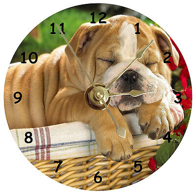 English Bulldog Sleeping Cd Clock