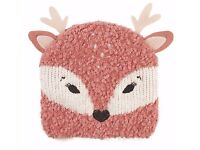 BRAND NEW Fat Face Children's Deer Beanie Hat Pink