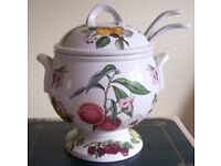 Large pomona Soup Tureen plus matching label and white ladle. never used.