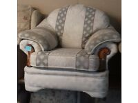 Lovely White and Grey Patterned Armchair - Good Condition £15