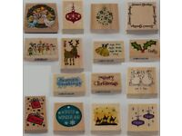 Joblot of 15 Brand New Christmas Themed Wooden Rubber Stamps