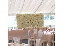 Stunning Flower wall for hire, flower balls, candelabras, LOVE led light up, bespoke letters wedding