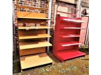 VARIOUS HEAVY DUTY, LARGE METAL WALL SHELVING UNITS, GONDOLA, ETC FOR RETAIL SHOPS OR STORAGE