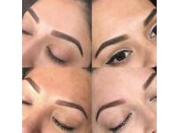 Eyebrow tattoo- ombré eyebrows- hair stroke- microblading- eyelash extensions - nails
