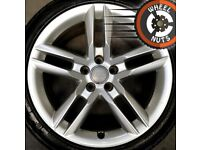 """18"""" Genuine Audi A4 A5 S Line twin spoke alloys good cond good tyres."""