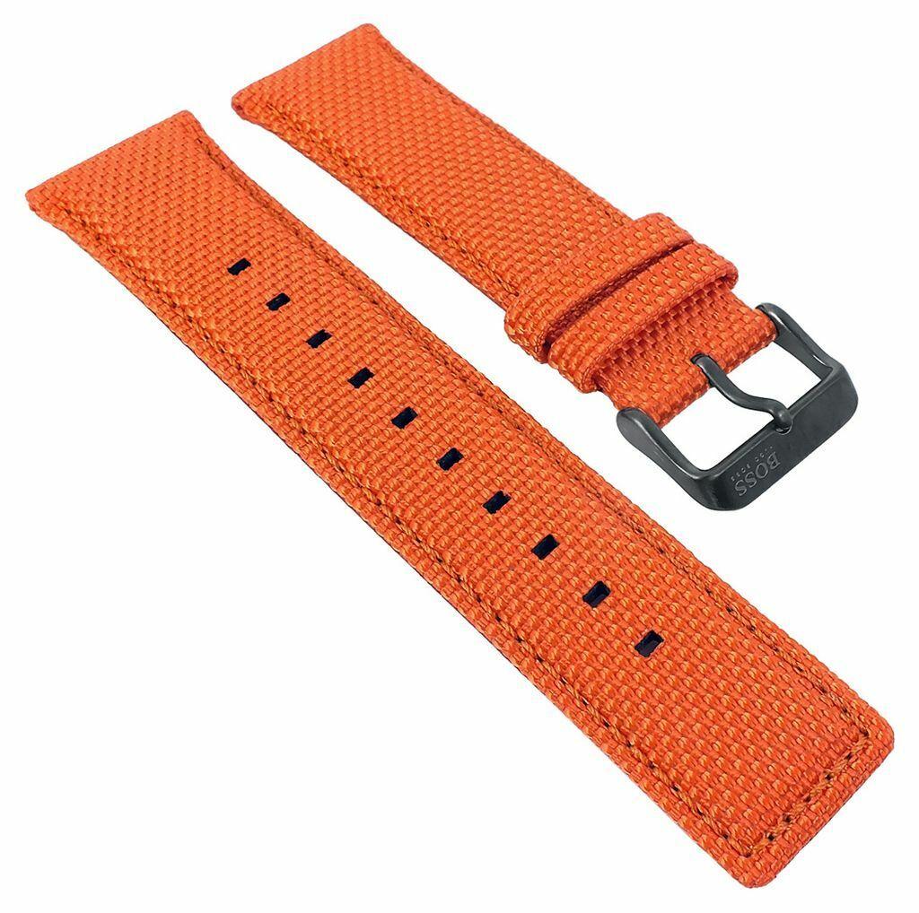 Hugo Boss | Ersatzband Uhrenarmband Textil/Leder orange mit Naht 24mm 30107B