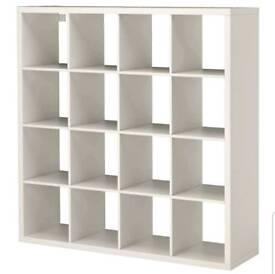 ikea white kallax 4X4 wall unit
