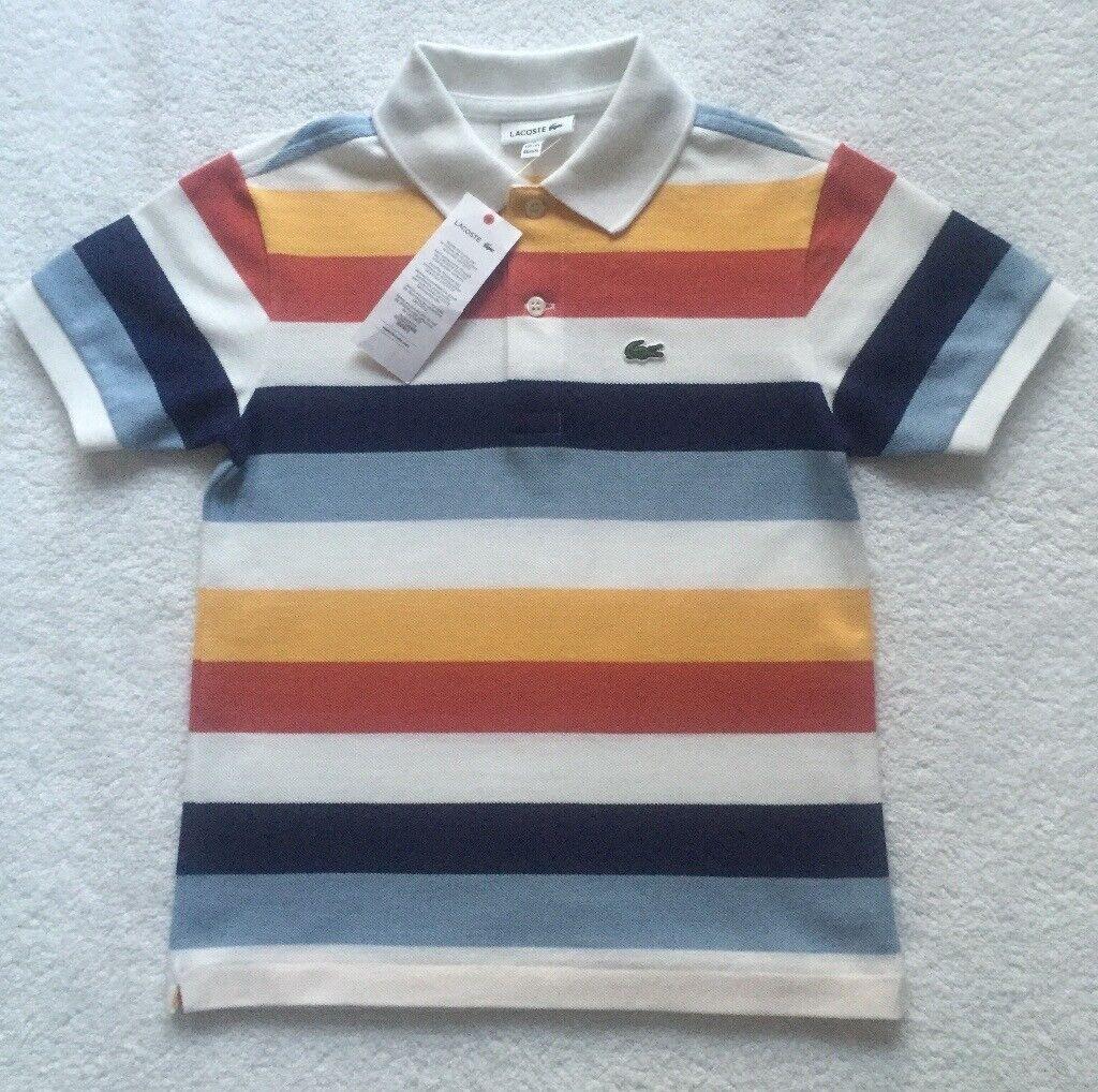 aaf13feed BNWT Lacoste Boy Multi Stripe Polo 6 Years