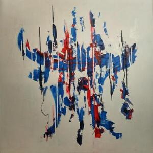 "NEW Huge ART 4' (48""x48"") Abstract ""ATOMIC AGE"" Valerie Koudelka Blue Red White Original Painting Acrylic on White"