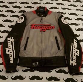 Furygan leather biker race jacket in silver red black & white. Great condition Size medium