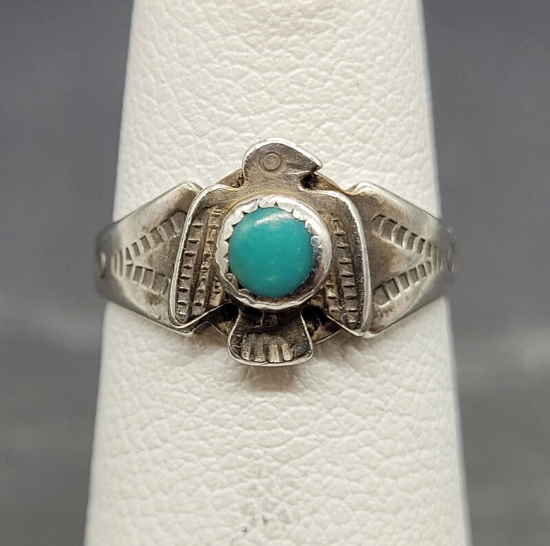 Vintage 925 Sterling Silver Ring Turquoise Stone Eagle Southwest Style Size 3.25
