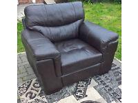 Ex-display Dayson Brown Genuine Leather Arm Chair.