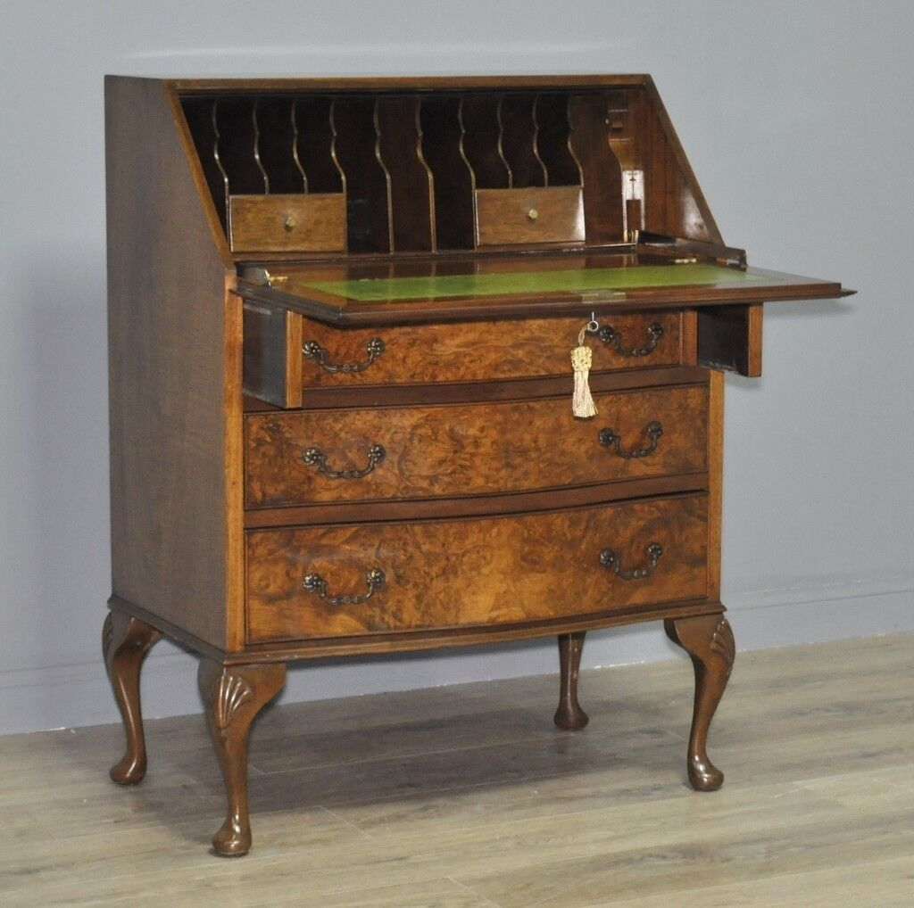 Attractive Vintage Burr Walnut Writing Bureau Desk Cabinet On Cabriole Legs