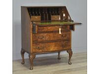 Attractive Vintage Burr Walnut Writing Bureau Desk Cabinet On Cabriole Legs