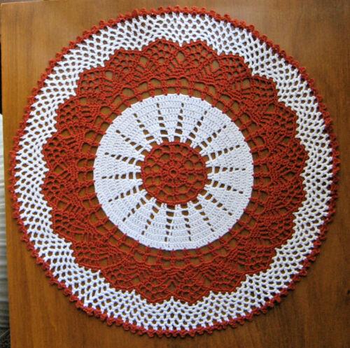 "New Hand Crocheted Doily Russet 11"" round Russet and White Handmade"