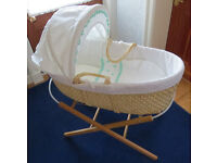Basket Weave Moses Basket with Stand