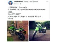 *STOLEN* kawasaki klx 250 CASH REWARD