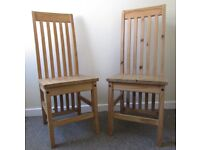 2 Dining Chairs Pine Solid Wood Farmhouse Set Of High Back FREE